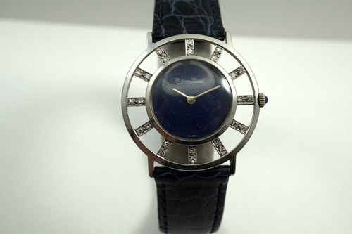 Lucien Piccard Helm Watch 14k white gold diamond & lapis dial c. 1960's pre owned for sale houston fabsuisse