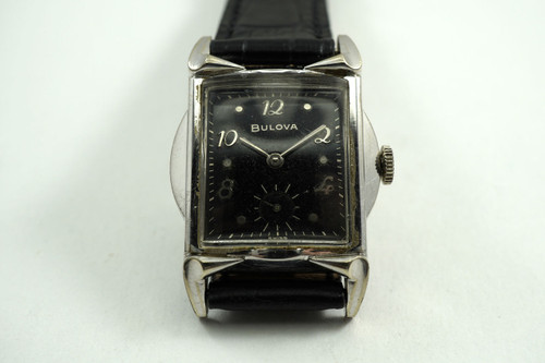 Bulova Wristwatch deco style original gilt dial serviced c. 1940's vintage pre owned for sale houston fabsuisse