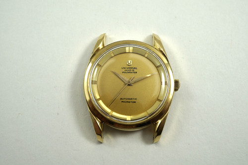Universal Geneve 1357-1 Polerouter 18k yellow gold automatic miero rotor c. 1960's vintage for sale houston fabsuisse