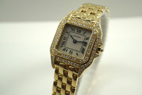 CARTIER WF3072B9 PANTHER LADIES 18K YELLOW GOLD w/DIAMONDS MINT DATES 2000'S FOR SALE HOUSTON FABSUISSE