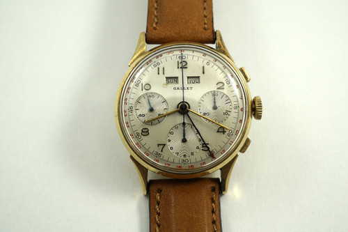 Gallet Multichron calendar chronograph 14k yellow gold dates 1950's vintage pre owned for sale houston fabsuisse