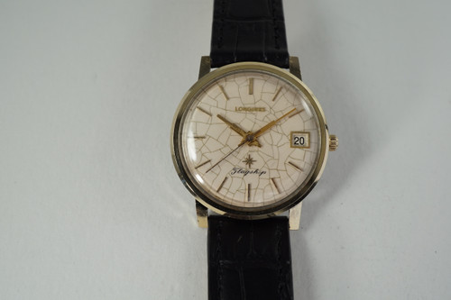 Longines Flagship enamel dial gold & steel c. 1967 with archive original vintage pre owned for sale houston fabsuisse