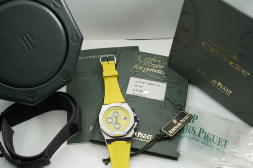 AUDEMARS PIGUET 25770 ST YELLOW THEMES OFFSHORE CHRONOGRAPH COMPLETE w/ BOX, GUARANTEE, TAG C.1990'S FOR SALE HOUSTON FABSUISSE