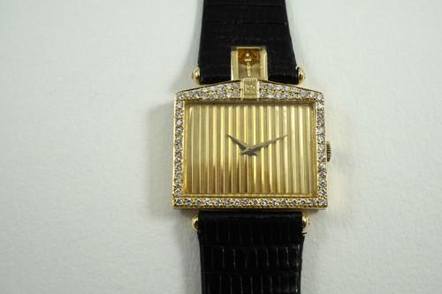 CORUM 55596 ROLLS ROYCE RADIATOR GRILL WATCH 18K YELLOW GOLD & DIAMONDS DATES 1970'S FOR SALE HOUSTON FABSUISSE