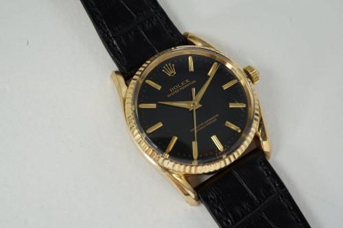 Rolex 1011 Bombay 14k yellow gold mint gilt black dial unpolished dates 1962 for sale Houston Fabsuisse