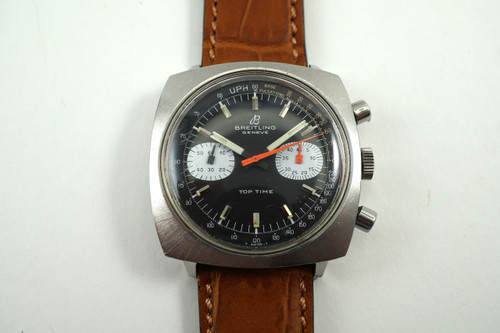 Breitling 2211 Top Time Chronograph stainless steel dates 1970's vintage for sale houston fabsuisse