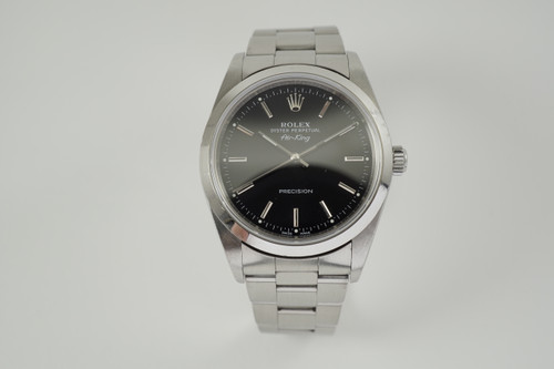 Rolex 14000 Air King black dial stainless steel with halogram c. 1999 automatic for sale houston fabsuisse