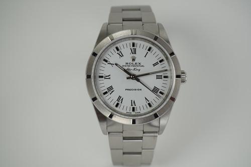 Rolex 14010M Airking white roman mint steel dates 2003