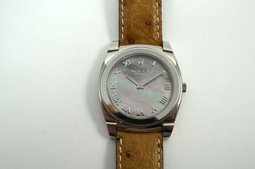 Rolex 5330 Cellini 18k white gold mother of pearl dial, mint c. 2007 modern pre owned for sale houston fabsuisse