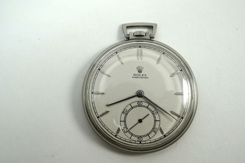 Rolex 4609 Pocket Watch rare stainless steel dates 1947-48 vintage art deco style pre owned for sale houston fabsuisse