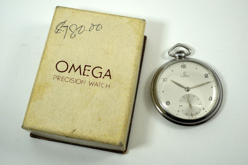Omega 1161-3 Pocket Watch stainless steel original box & dial dates 1952 vintage pre owned for sale houston fabsuisse