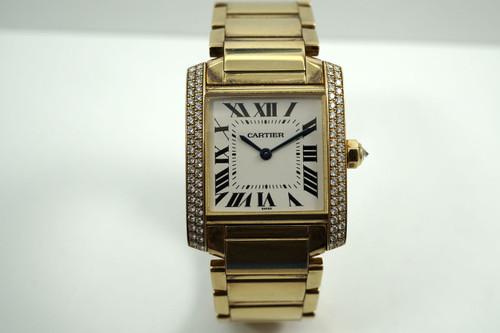 Cartier 2466 Tank Francaise 18k yellow gold & factory diamond midsize w/ box c.2000's for sale houston fabsuisse