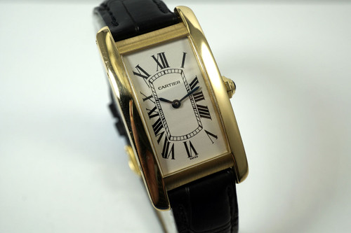 Cartier 1720-1 Tank American 18k yellow gold ladies w/ box dates 2000's for sale houston fabsuisse