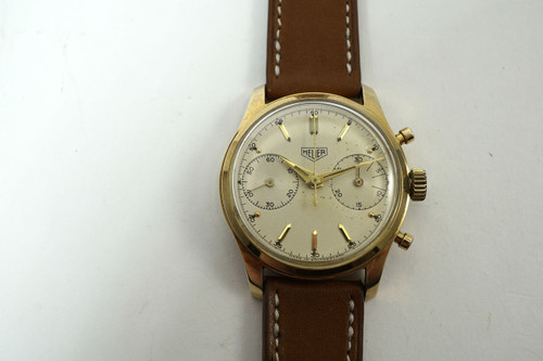 Heuer 3645 Chronograph pre-Carerra 14k yelllow gold dates 1960's pre owned vintage timepiece  for sale Houston fabsuisse