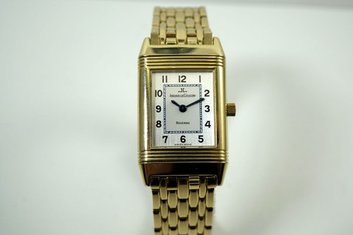 Jaeger LeCoultre 260.1.08 Reverso ladies 18k yelllow gold bracelet watch w/ box c. 2000's pre owned for sale houston fabsuisse