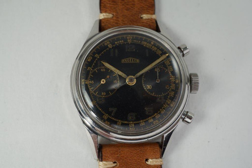 Angelus Chronograph vintage black gilt dial cal. 215 stainless steel c. 1950's for sale houston fabsuisse