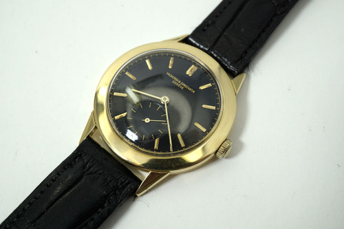 Vacheron & Constantin Wristwatch large 36 mm original black gilt dial c. 1950-55 pre owned for sale houston fabsuisse