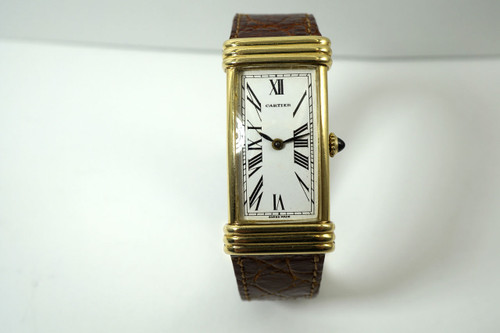 Cartier Curved Rectangle 18k yellow gold unusual case design Swiss c. 1970's all original for sale houston fabsuisse