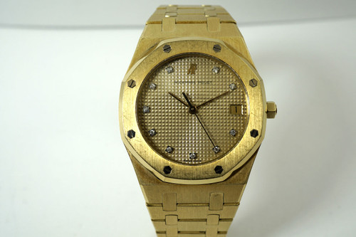 Audemars Piguet 56023 Royal Oak diamond dial 18k yellow gold quartz dates 1990's