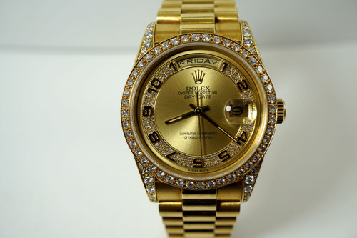 Rolex 18388 Day Date Factory diamond lugs, bezel & dial dates 1990 18k yellow gold for sale houston fabsuisse