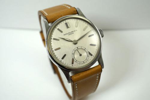 Patek Philippe 96 Calatrava steel Staybrite case dates 1935-40 rare vintage pre owned watch for sale houston fabsuisse