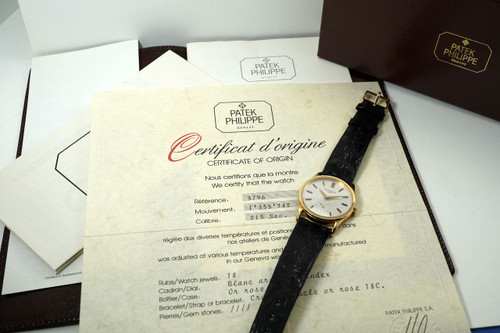 Patek Philippe 3796 Calatrava 18k rose gold box & papers NOS 1985 pre owned for sale houston fabsuisse