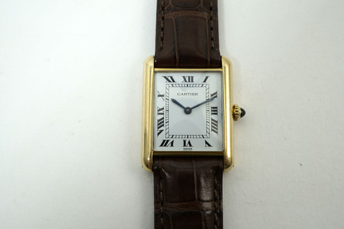 Cartier Tank 18k yellow gold dates 2000's modern pre owned for sale houston fabsuisse