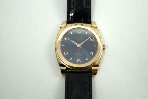 Rolex 5330 Cellini 18k rose gold all original dates 2007 alligator strap great condition pre owned for sale houston fabsuisse