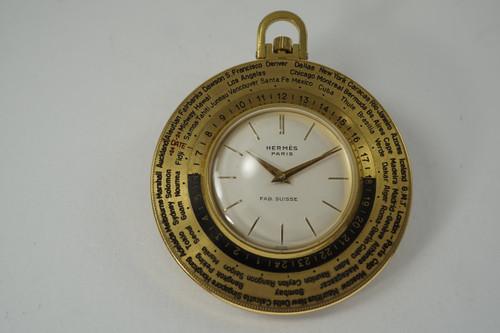 Hermes Paris World Time Pocket Watch Luxor c. 1960's gold plated vintage rotating bezel pre owend for sale houston fabsuisse