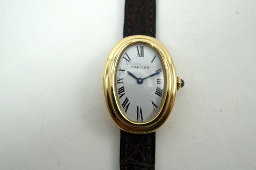 Cartier Baignoire 18k yellow gold ladies watch recent Cartier service 1990's pre owned for sale houston fabsuisse