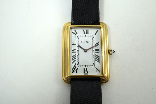 Cartier stepped case large rectangle (20 microns) gold plated dates 1970's pre owned for sale houston fabsuisse