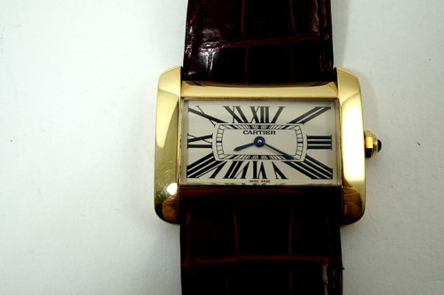 Cartier Tank Divan 18k yellow gold ladies large quartz mint dates 2010 all original for sale houston fabsuisse