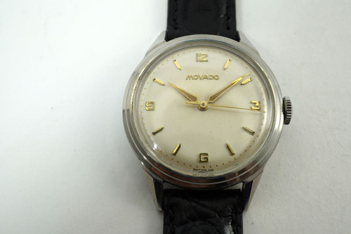 Movado Sport watch stainless steel vintage unpolished minty c. 1950's pre owned for sale houston fabsuisse