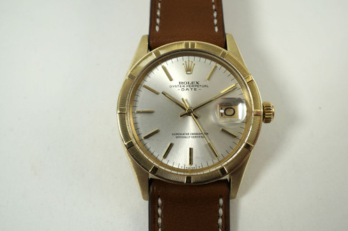 Rolex 1501 Date solid 14k yellow gold automatic c. 1971 vintage all original pre owned for sale houston fabsuisse