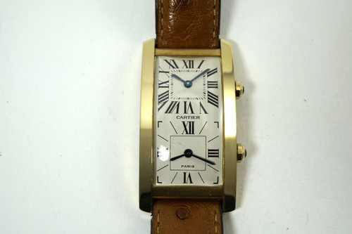 Cartier A106139 Tank Cintree Two Time Zone Watch 18k yellow gold dates 1990 pre owned for sale houston fabsuisse