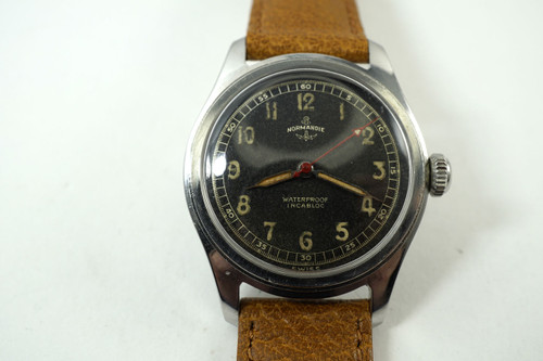Normandie Watch Co. Military Style Watch original steel c. 1940's vintage pre owned for sale houston fabsuisse