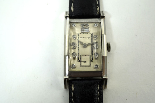 Hamilton Dress Watch art deco style 14k white gold with diamonds mint 1940's for sale houston fabsuisse