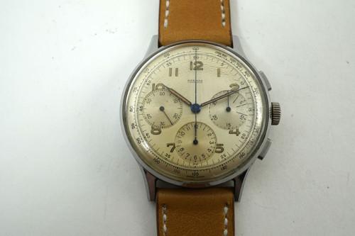 Harman Watch Co. 734 Chronograph venus movement stainless steel c. 1940's vintage for sale houston fabsuisse