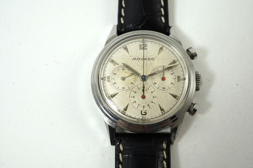 Movado 19038 Chronograph steel with original dial dates 1950's vintage pre owned for sale houston fabsuisse