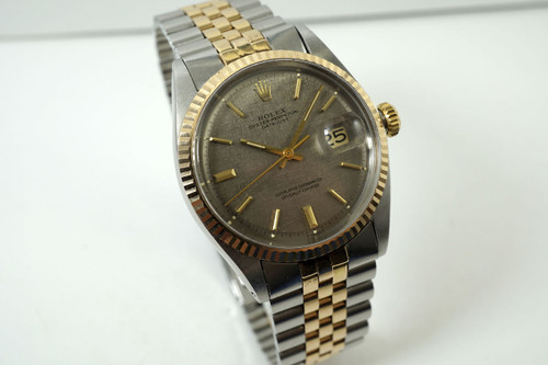 Rolex 1600 Datejust rose & steel jubilee bracelet dates 1972 vintage automatic pre owned for sale houston fabsuisse