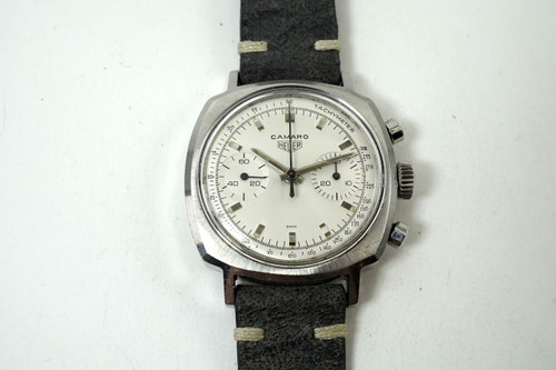 Heuer 7743 Camaro 2 register chronograph stainless steel dates late 1960's vintage mechanical wind timepiece for sale houston fabsuisse