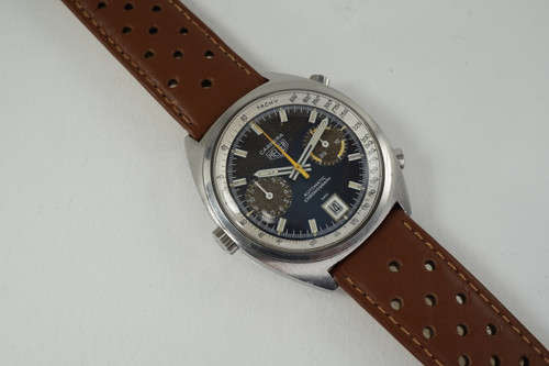 vintage heuer carrera reference 1153 chronograph automatic houston fabsuisse for sale pre owned stainless steel tropical dial 1970's fabsuisse