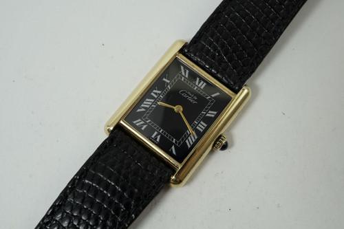 Cartier Tank vermeil silver black roman dial 1970's 1980's vintage original for sale pre owned houston fabsuisse