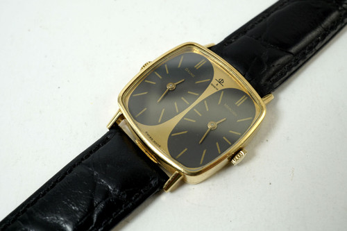 Baume & Mercier vintage Two Time Zone Watch 18k yellow gold dates 1980's original for sale houston fabsuisse