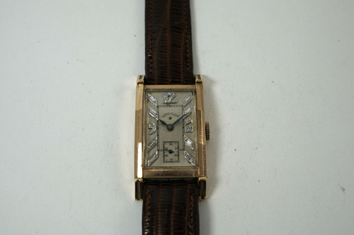 Lord Elgin  vintage Rectangle diamond dial w/ sub second 14k rose gold 1940's unpolished case very good condition for sale houston fabsuisse