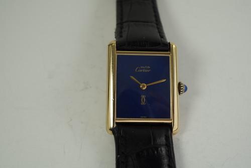Cartier Tank vermeil .925 silver original blue dial & lizard strap 1980's mint mechanical wind for sale houston fabsuisse