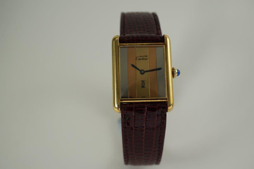 Cartier Tank vermeil .925 silver tri-color dial vintage hand wind watch mint thin model dates 1970's for sale houston fabsuisse