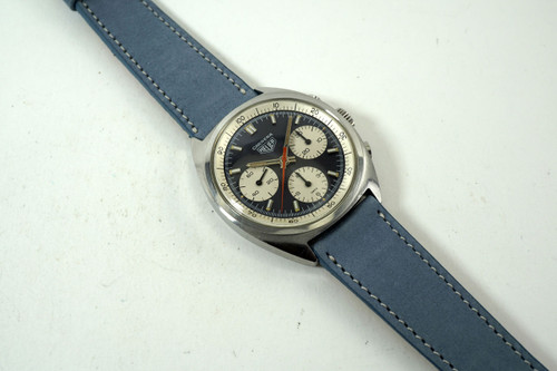 Heuer 73653 Carrera Chronograph stainless steel original mechanical wind dates early 1970's sporty model pre owned for sale houston fabsuisse
