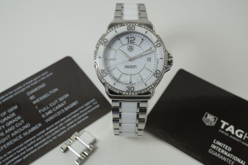 Tag Heuer WAH1213.BA0861 Formula 1 ladies w/ diamonds ceramic box, papers & tags modern mint quartz watch for sale houston fabsuisse