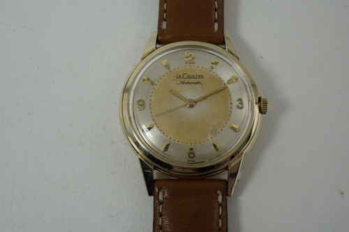 LeCoultre L141-1208 Bumper Automatic 14k yellow gold w/ tutone dial c. 1950's vintage pre owned for sale houston fabsuisse